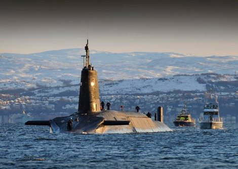 Nuclear Submarine HMS Vanguard Returns to HMNB Clyde, Scotland