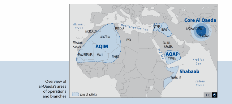 Al Quaeda according to Swiss Intelligence Services (in 2013)